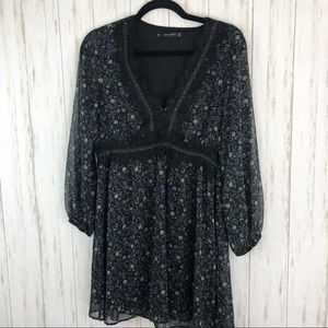 Zara floral black and green lace floral dress